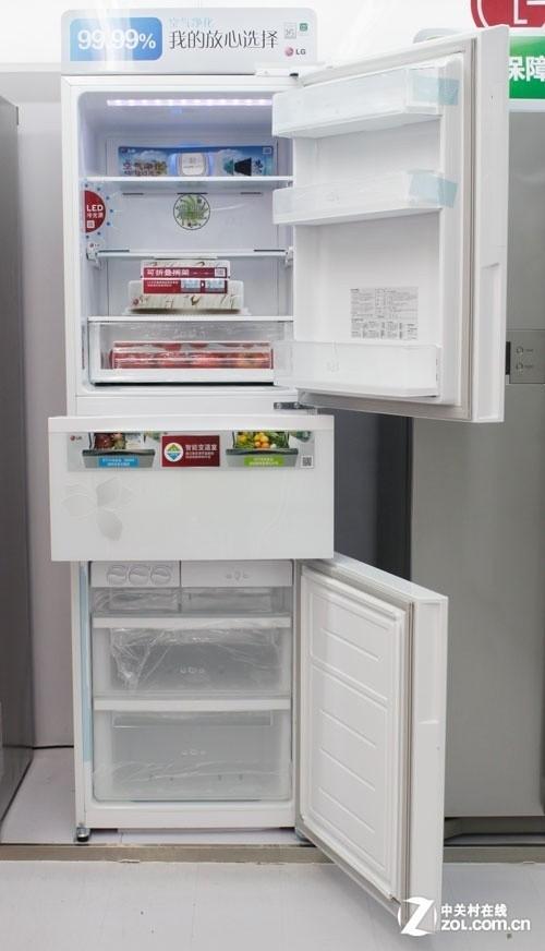 隐藏式显示屏 lg除菌三开门冰箱7480元