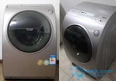 图注:三洋斜式滚筒洗衣机xqg60-l932s正面及侧面