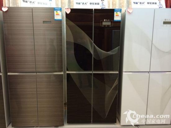 """例如坂田空调新品""""u型超薄""""的设计,申花对开门冰箱豪华欧式的设计风格"""