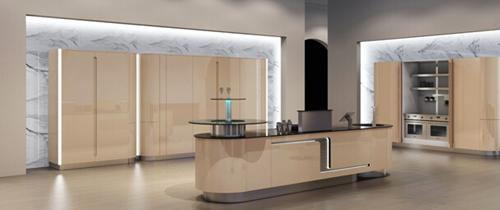 摒弃原有厨房设计中占绝对主体地位的吊柜与地柜,改以岛柜为核心.