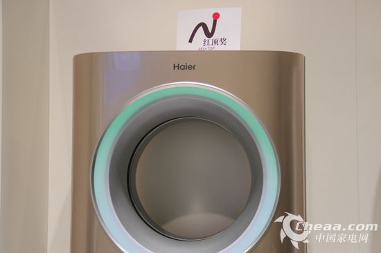 海尔在IFA2014展出了中国空调市场明星产品、曾获红顶奖的天樽空调(香槟金)