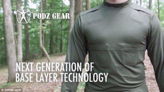 美国肯塔基的一位发明人设计出一种配带加热口袋的衬衫。它叫Podz Gear(照片显示),有6个用于放置热化学包的口袋。这些口袋置于全身主要血管上,用于加热。常规的暖手宝也可用在这些口袋中。