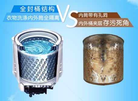 tcl免污式洗衣机采用全封桶结构