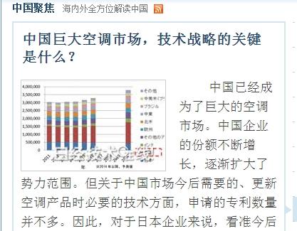 日本专利厅调查中国空调企业技术专利动向