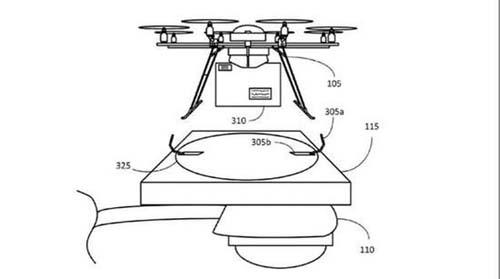 亚马逊无人机专利曝光 可停电线杆上充电图片