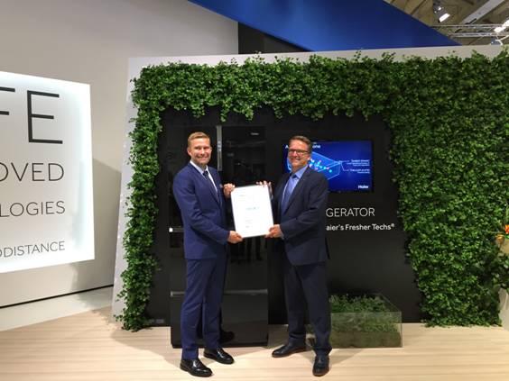海尔冰箱IFA展获全球首批VDE保鲜认证