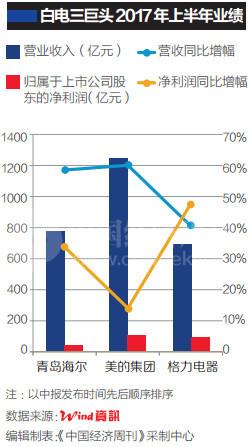 家电行业业绩分化显著 白电黑电冰火两重天