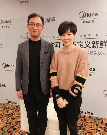 美的冰箱事业部新任总经理柏林(左)与中国家电网记者专访合影