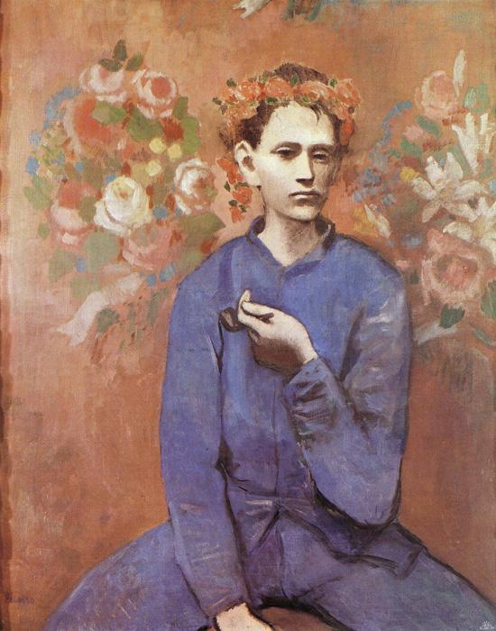 毕加索《拿烟斗的男孩》