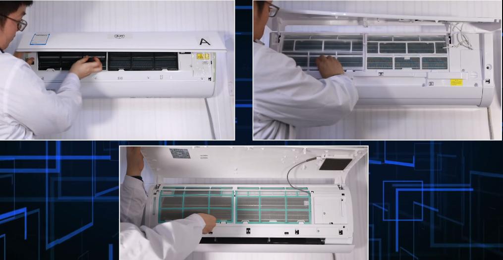 三款空调运行自清洁程序后,通过拆机观察我们可以发现A空调的结霜时间最快,在经过短短的两分钟时间后,就已经凝下肉眼可见的厚厚一层白霜,空调B肉眼不可见结霜现象,C空调只有轻微结霜现象。