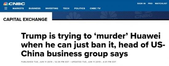 美中贸易全国委员会会长批特朗普:试图谋杀华为