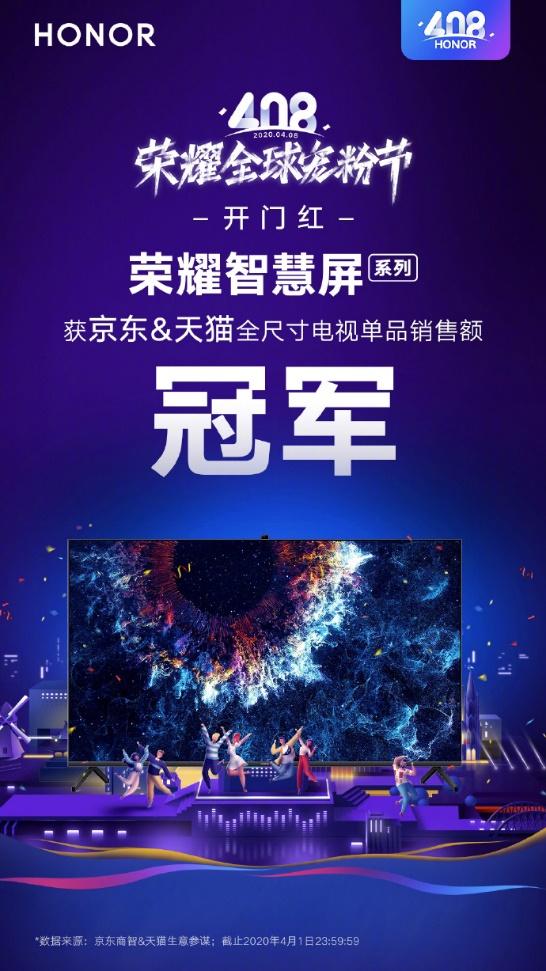 最新消息:荣耀智慧屏斩获双平台电视销售额冠军