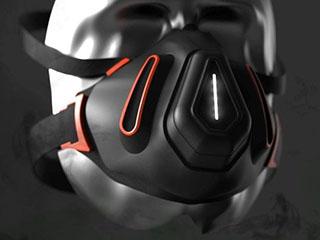 赛博朋克概念口罩:内置检测传感器可重复使用