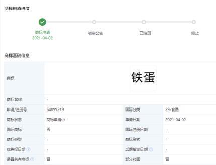 """小米关联公司申请注册""""铁蛋""""商标"""