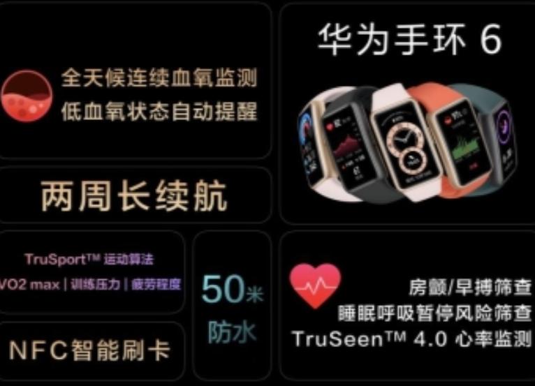 华为手环6今日发布:拥有炫彩全面屏,支持全天候血氧监测