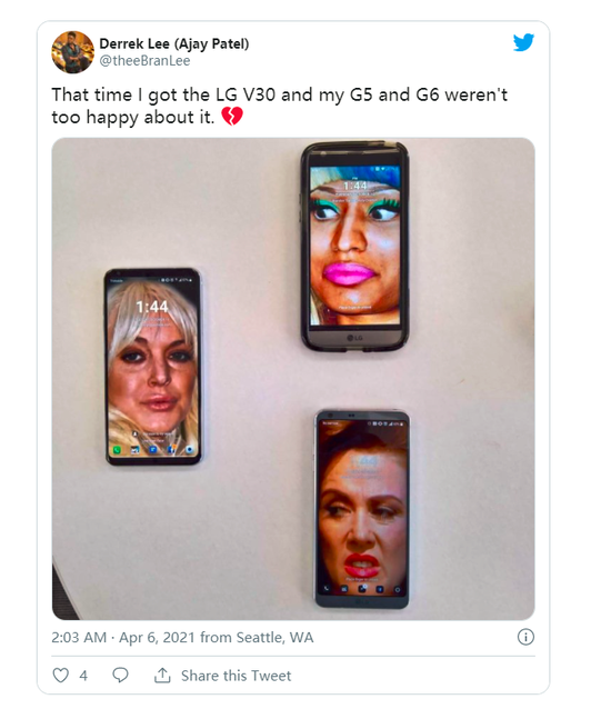 """当年听说我买了LG V30,我的G5和G6并不是特别开心。""/Twitter @theeBranLee"
